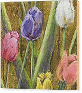 Splashy Tulips II With Gold Leaf By Vic Mastis Wood Print