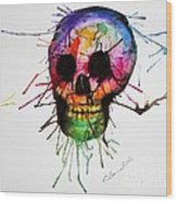 Splatter Skull Wood Print by Christy Bruna