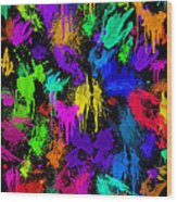Splattered One Wood Print