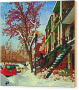 Splendor And Colors Of Quebec Winters Verdun Montreal Urban Street Scene Carole Spandau Wood Print
