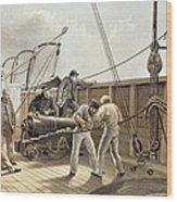 Splicing The Trans-atlantic Telegraph Cable After The First Accident On Board The Great Eastern Wood Print