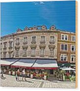 Split Historic Square Panoramic View Wood Print