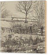 Split Rail Winter Sepia Wood Print