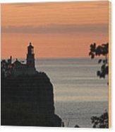 Split Rock Lighthouse At Sunrise Wood Print