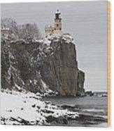 Split Rock Lighthouse Winter 19 Wood Print