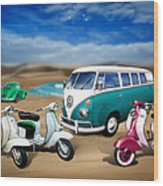 Splitty Vw Beetle And Scooters Wood Print