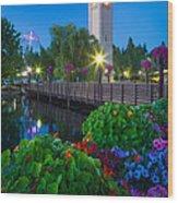 Spokane Clocktower By Night Wood Print