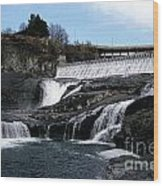 Spokane Falls At Low Tide Wood Print
