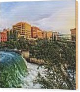 Spokane Falls City Skyline Wood Print by Dan Quam