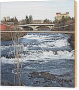 Spokane Falls In Winter Wood Print