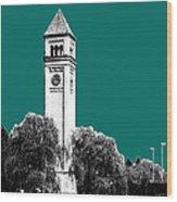 Spokane Skyline Clock Tower - Sea Green Wood Print