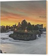 Spokane Sunrise Wood Print by Michael Gass