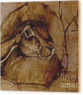 Spooked Hare Wood Print