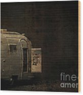 Spooky Airstream Campsite Wood Print