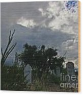 Spooky Boot Hill Cemetery Wood Print