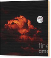 Spooky Clouds With Glowing Moon Wood Print