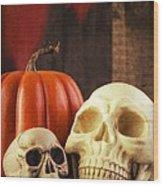 Spooky Halloween Skulls Wood Print by Edward Fielding