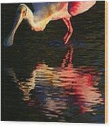 Spoonbill Island Reflection Wood Print