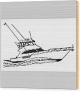 Sport Fishing Yacht Wood Print