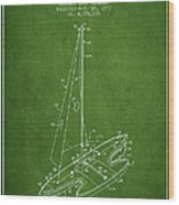 Sport Sailboat Patent From 1977 - Green Wood Print