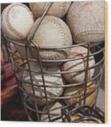 Sports - Baseballs And Softballs Wood Print by Art Block Collections