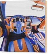 Sports Car Interior Wood Print