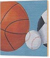 Sports Line Up Wood Print