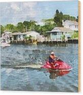 Sports - Man On Jet Ski Wood Print