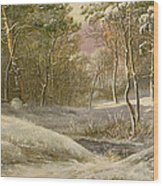 Sportsmen In A Winter Forest Wood Print