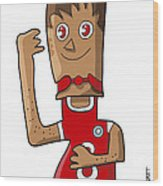 Sporty Teenager Doodle Character Wood Print