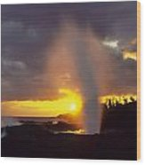 Spouting Horn At Sunset Wood Print