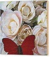 Spray Roses And Red Butterfly Wood Print