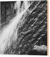 Sprays Of Water On Angled Rock Wood Print
