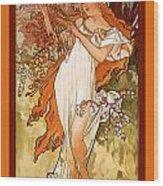 Spring Wood Print by Alphonse Maria Mucha