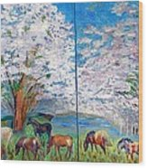 Spring And Horses Wood Print by Vicky Tarcau