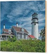 Spring At Cape Cod Light Wood Print