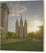 Spring At Temple Square Wood Print