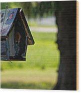 Spring Birdhouse Wood Print