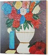 Spring Bouquet In A Vase Wood Print
