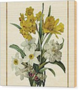 Spring Bouquet Of Daffodils And Narcissus With Butterfly Vertical Wood Print