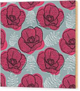 Spring Bright Seamless Floral Pattern Wood Print