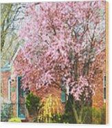Spring - Cherry Tree By Brick House Wood Print