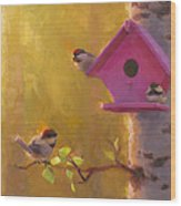 Spring Chickadees 1 - Birdhouse And Birch Forest Wood Print