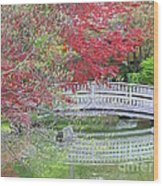 Spring Color Over Japanese Garden Bridge Wood Print