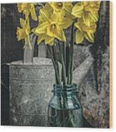 Spring Daffodil Flowers Wood Print by Edward Fielding