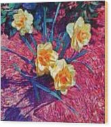Spring Daffodils On Red - Horizontal Wood Print