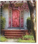 Spring - Door - Westfield Nj - Pink Wood Print by Mike Savad