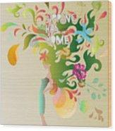 Spring Floral Girl Illustration Wood Print