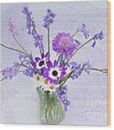 Spring Flowers In A Jam Jar Wood Print by Ann Garrett