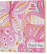 Spring Flowers Thank You Card Wood Print by Linda Woods